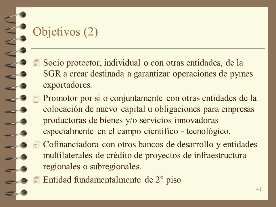 41 Objetivos (2) 4 Socio protector, individual o con otras entidades, de la SGR a crear destinada a garantizar operaciones de pymes exportadores. 4 Pr