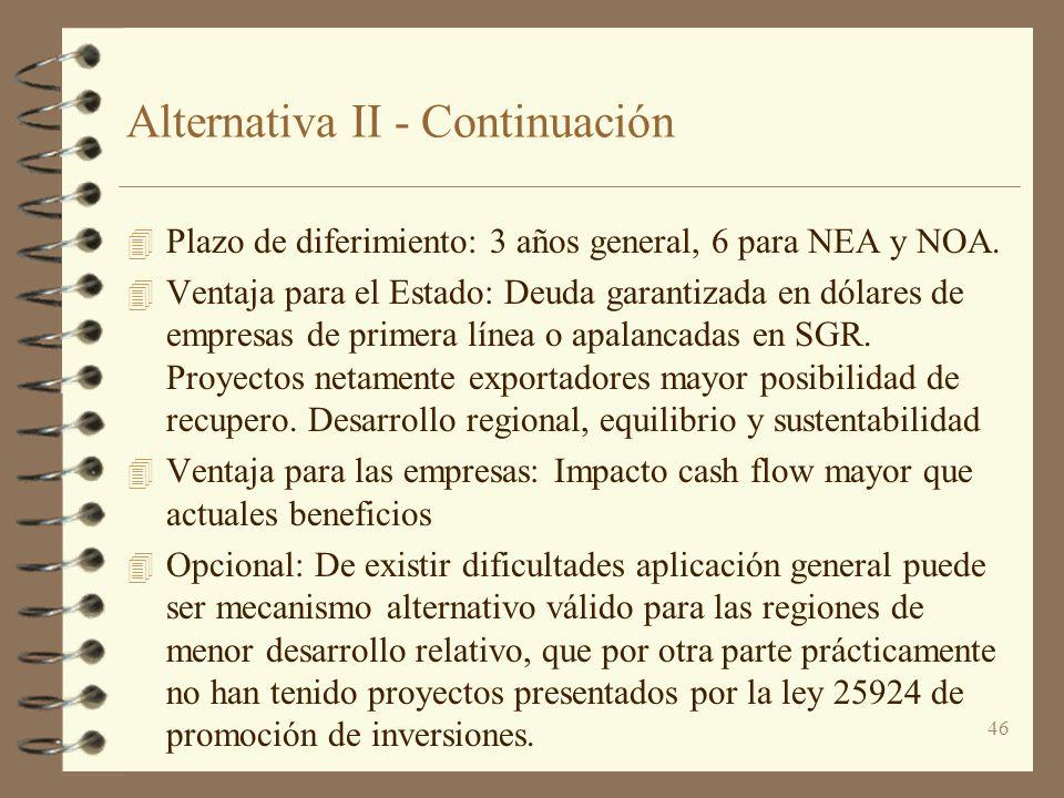 46 Alternativa II - Continuación 4 Plazo de diferimiento: 3 años general, 6 para NEA y NOA. 4 Ventaja para el Estado: Deuda garantizada en dólares de