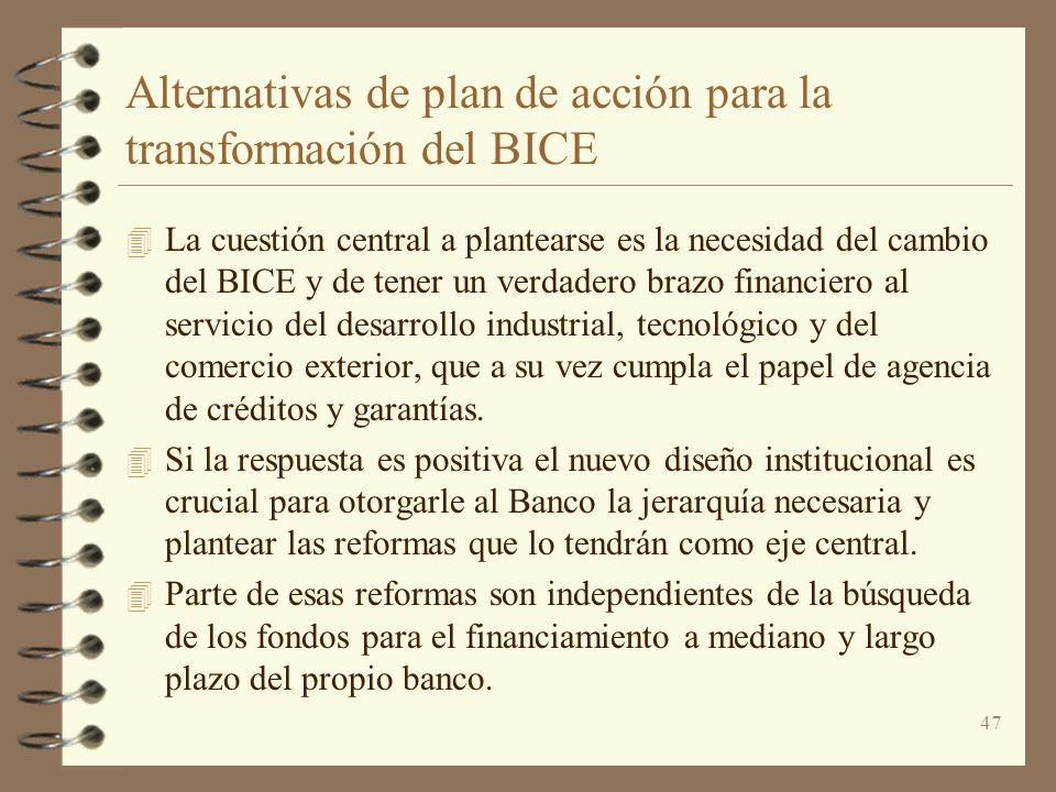 47 Alternativas de plan de acción para la transformación del BICE 4 La cuestión central a plantearse es la necesidad del cambio del BICE y de tener un