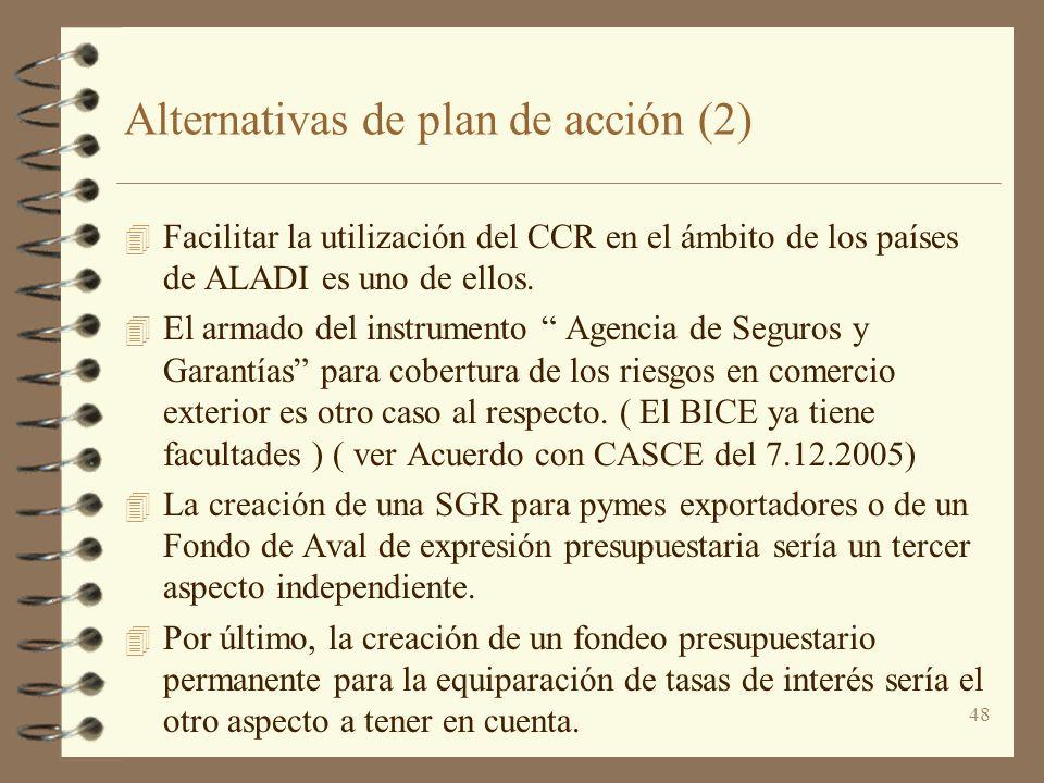 48 Alternativas de plan de acción (2) 4 Facilitar la utilización del CCR en el ámbito de los países de ALADI es uno de ellos. 4 El armado del instrume