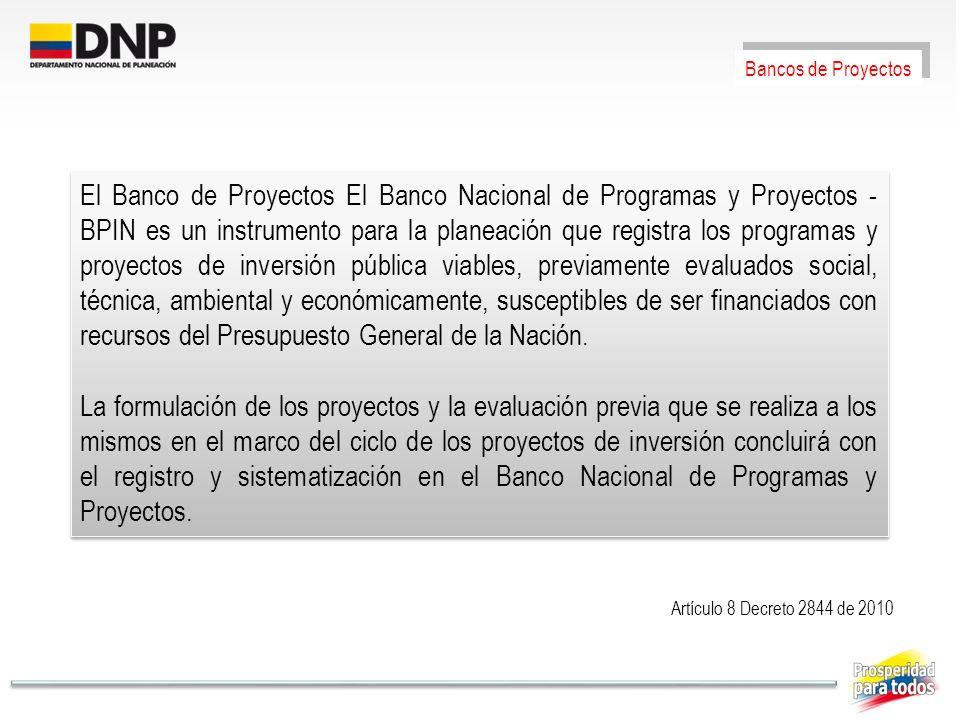 Artículo 8 Decreto 2844 de 2010 Bancos de Proyectos El Banco de Proyectos El Banco Nacional de Programas y Proyectos - BPIN es un instrumento para la