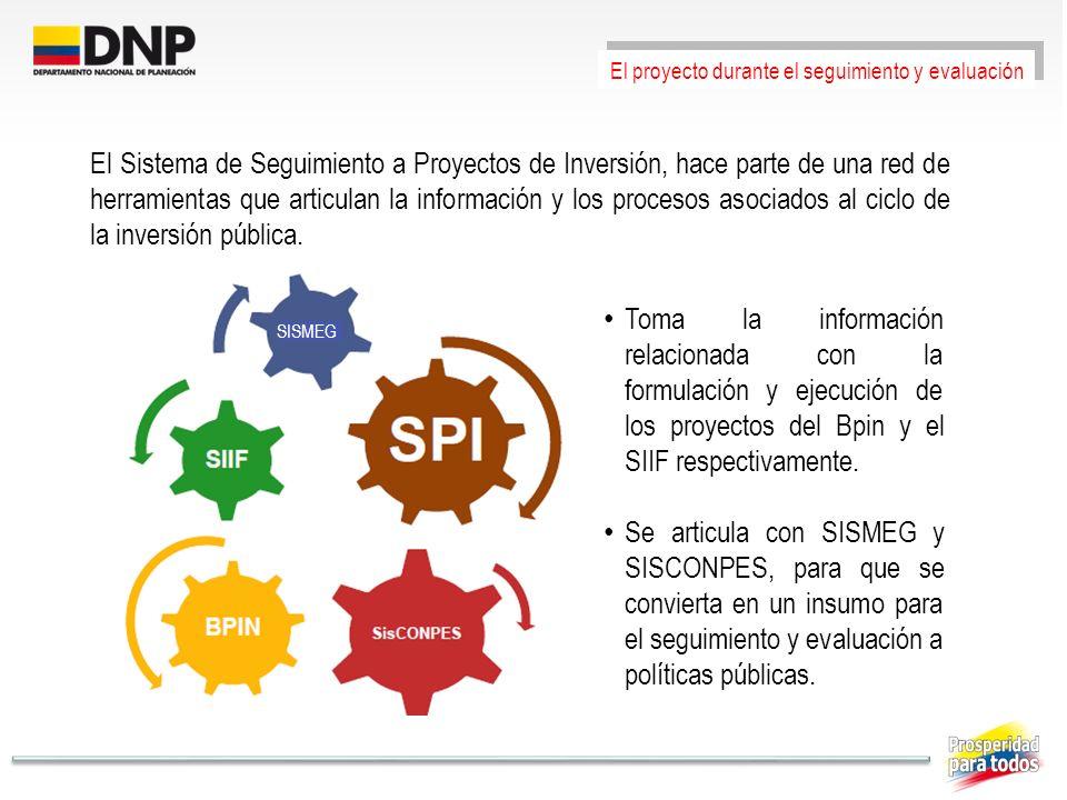 El proyecto durante el seguimiento y evaluación El Sistema de Seguimiento a Proyectos de Inversión, hace parte de una red de herramientas que articula
