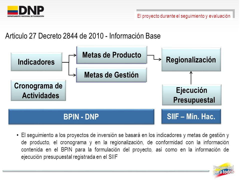 Articulo 27 Decreto 2844 de 2010 - Información Base Metas de Producto El seguimiento a los proyectos de inversión se basará en los indicadores y metas