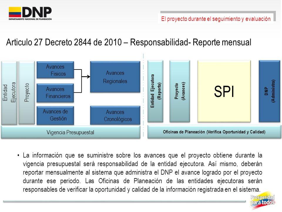 Articulo 27 Decreto 2844 de 2010 – Responsabilidad- Reporte mensual La información que se suministre sobre los avances que el proyecto obtiene durante