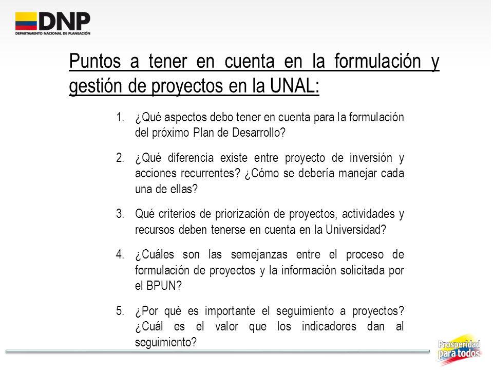 Puntos a tener en cuenta en la formulación y gestión de proyectos en la UNAL: 1.¿Qué aspectos debo tener en cuenta para la formulación del próximo Pla