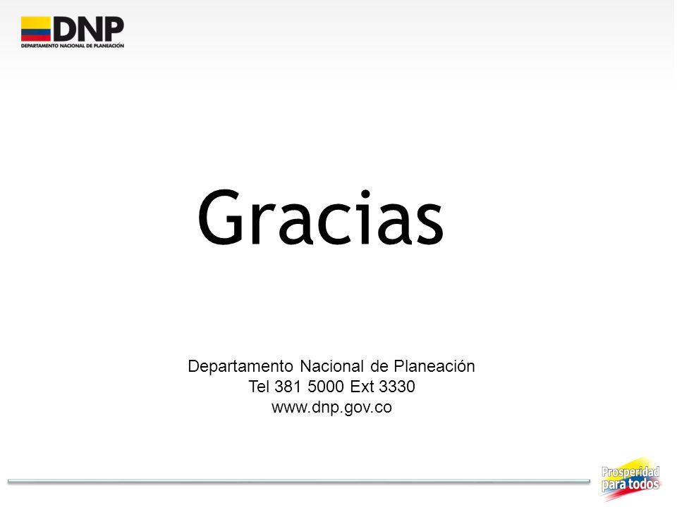 Gracias Departamento Nacional de Planeación Tel 381 5000 Ext 3330 www.dnp.gov.co