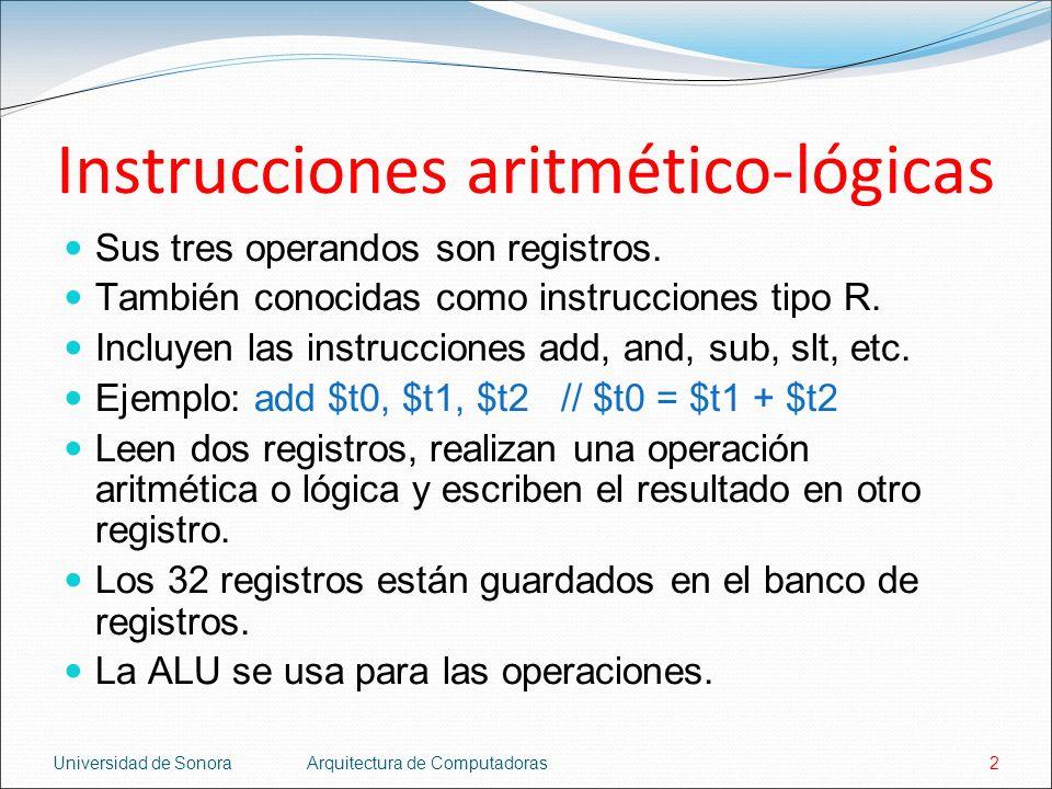 Universidad de SonoraArquitectura de Computadoras2 Instrucciones aritmético-lógicas Sus tres operandos son registros. También conocidas como instrucci