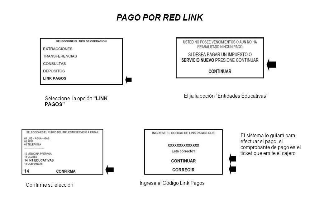 PAGO POR RED LINK Seleccione la opción LINK PAGOS Elija la opción Entidades Educativas Confirme su elección Ingrese el Código Link Pagos El sistema lo