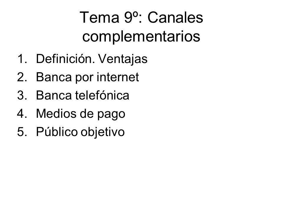 Tema 9º: Canales complementarios 1.Definición. Ventajas 2.Banca por internet 3.Banca telefónica 4.Medios de pago 5.Público objetivo