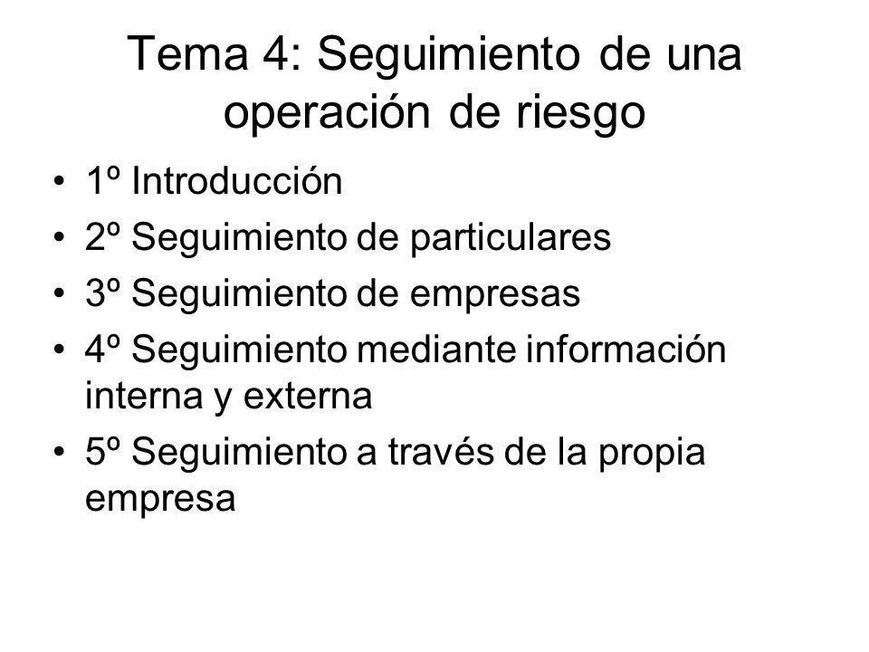 Tema 4: Seguimiento de una operación de riesgo 1º Introducción 2º Seguimiento de particulares 3º Seguimiento de empresas 4º Seguimiento mediante infor