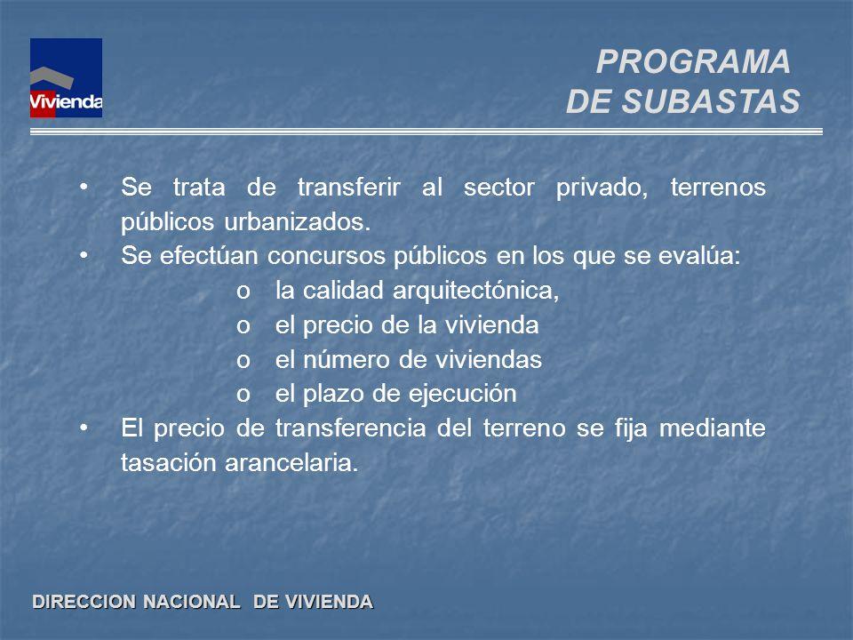 DIRECCION NACIONAL DE VIVIENDA Se trata de transferir al sector privado, terrenos públicos urbanizados. Se efectúan concursos públicos en los que se e