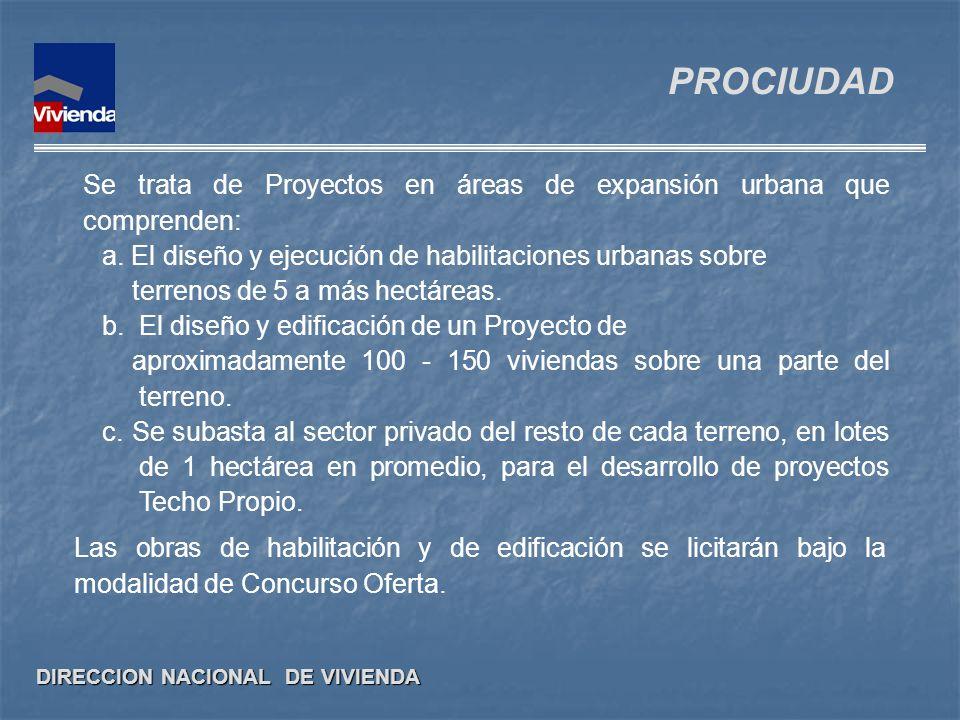 DIRECCION NACIONAL DE VIVIENDA Se trata de Proyectos en áreas de expansión urbana que comprenden: a. El diseño y ejecución de habilitaciones urbanas s
