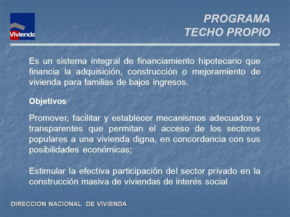 DIRECCION NACIONAL DE VIVIENDA Es un sistema integral de financiamiento hipotecario que financia la adquisición, construcción o mejoramiento de vivien