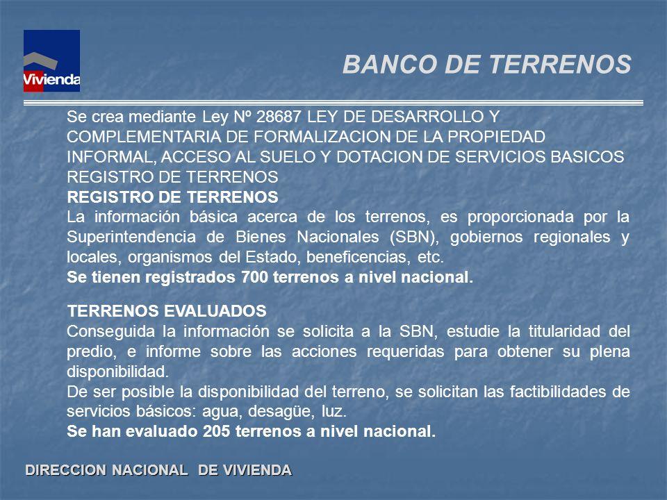 DIRECCION NACIONAL DE VIVIENDA BANCO DE TERRENOS Se crea mediante Ley Nº 28687 LEY DE DESARROLLO Y COMPLEMENTARIA DE FORMALIZACION DE LA PROPIEDAD INF