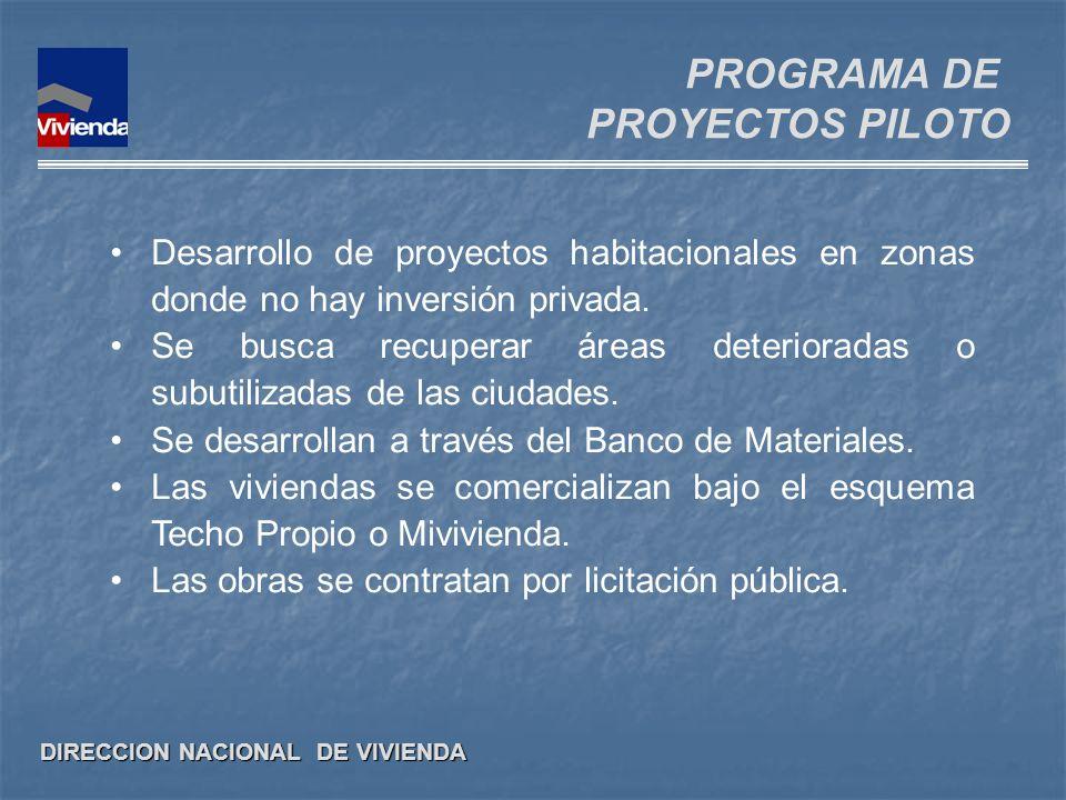 DIRECCION NACIONAL DE VIVIENDA Desarrollo de proyectos habitacionales en zonas donde no hay inversión privada. Se busca recuperar áreas deterioradas o