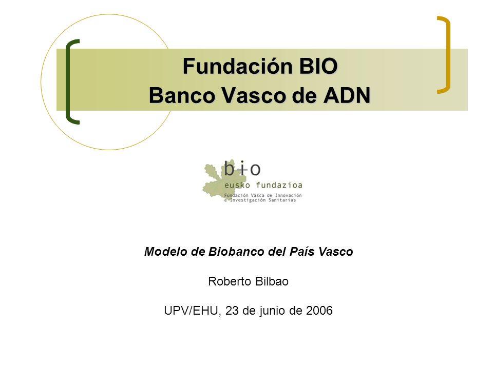 Fundación BIO Banco Vasco de ADN Modelo de Biobanco del País Vasco Roberto Bilbao UPV/EHU, 23 de junio de 2006