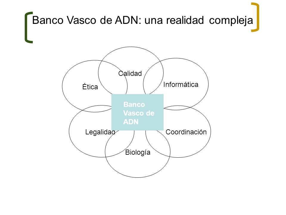 Ética Informática Legalidad Coordinación Calidad Biología Banco Vasco de ADN Banco Vasco de ADN: una realidad compleja
