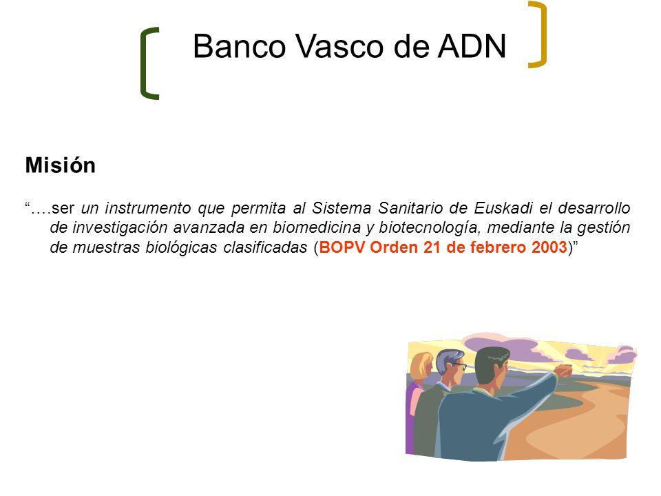 Banco Vasco de ADN Misión ….ser un instrumento que permita al Sistema Sanitario de Euskadi el desarrollo de investigación avanzada en biomedicina y bi