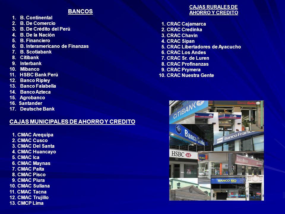 BANCOS 1.B. Continental 2. B. De Comercio 3. B. De Crédito del Perú 4.
