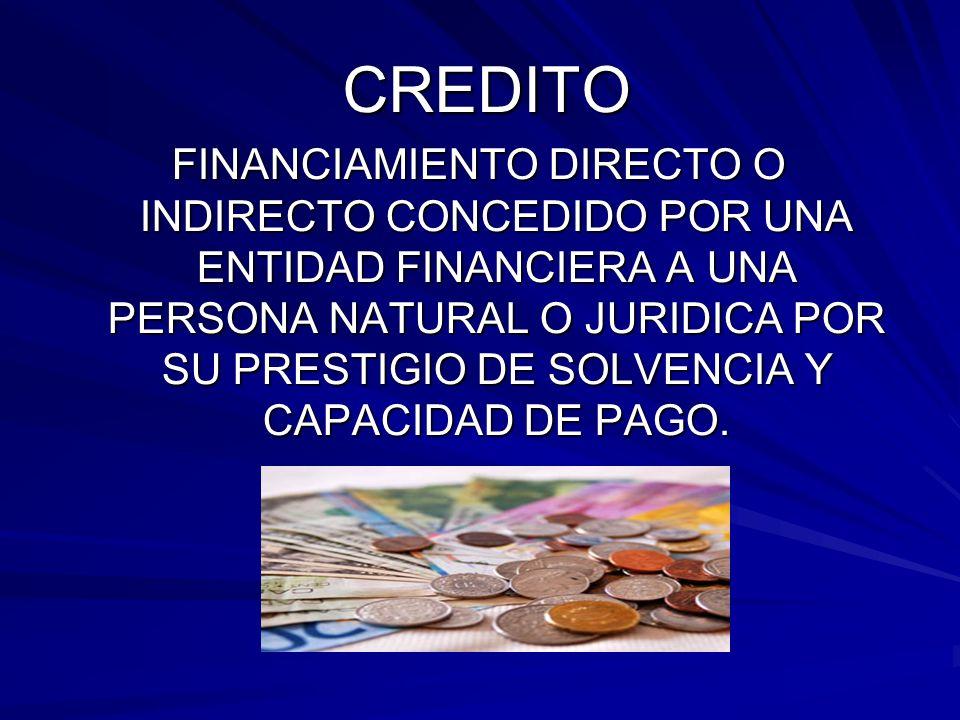 CREDITO FINANCIAMIENTO DIRECTO O INDIRECTO CONCEDIDO POR UNA ENTIDAD FINANCIERA A UNA PERSONA NATURAL O JURIDICA POR SU PRESTIGIO DE SOLVENCIA Y CAPACIDAD DE PAGO.