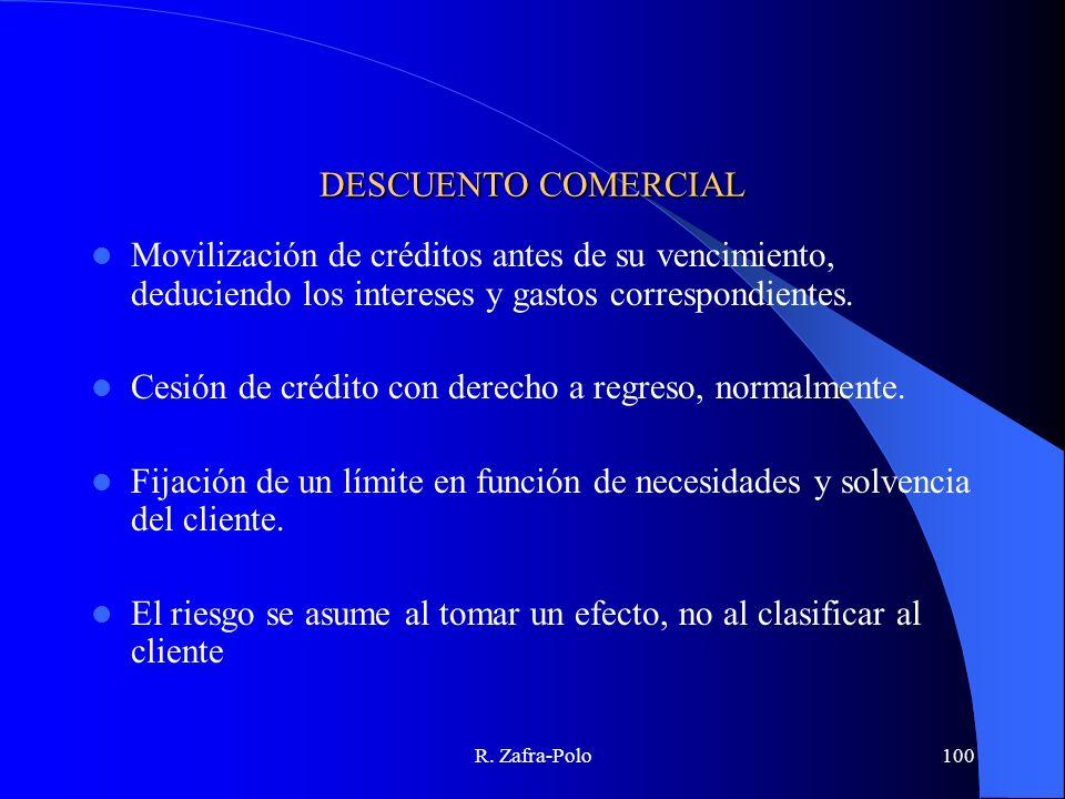 R. Zafra-Polo100 DESCUENTO COMERCIAL Movilización de créditos antes de su vencimiento, deduciendo los intereses y gastos correspondientes. Cesión de c