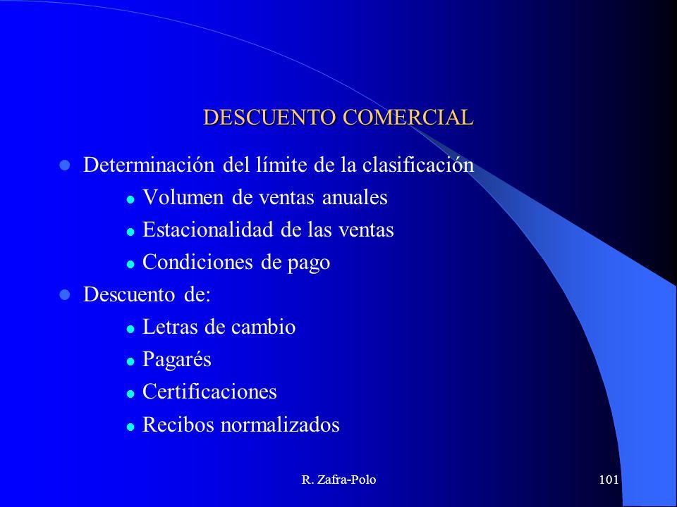 R. Zafra-Polo101 DESCUENTO COMERCIAL Determinación del límite de la clasificación Volumen de ventas anuales Estacionalidad de las ventas Condiciones d