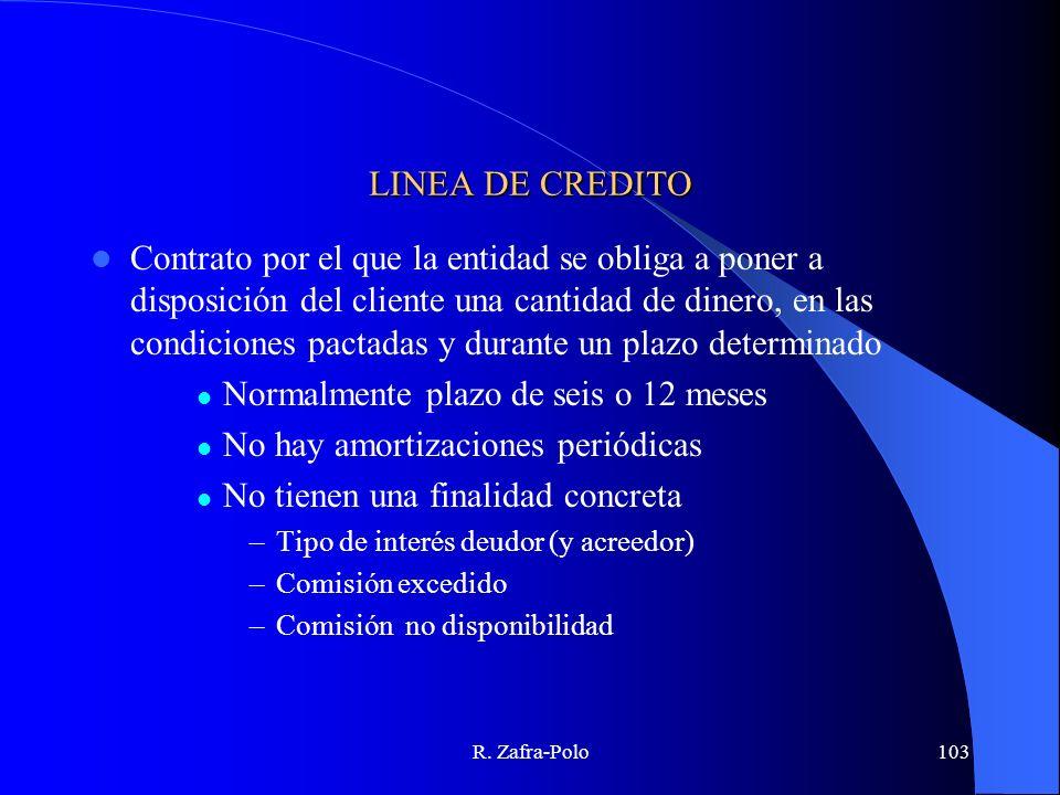 R. Zafra-Polo103 LINEA DE CREDITO Contrato por el que la entidad se obliga a poner a disposición del cliente una cantidad de dinero, en las condicione