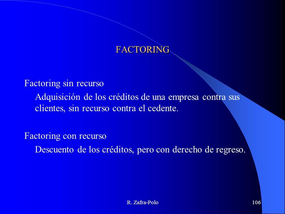 R. Zafra-Polo106 FACTORING Factoring sin recurso Adquisición de los créditos de una empresa contra sus clientes, sin recurso contra el cedente. Factor