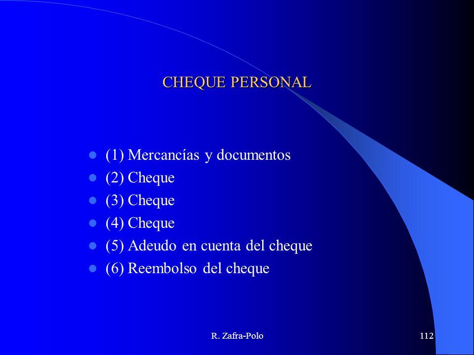 R. Zafra-Polo112 CHEQUE PERSONAL (1) Mercancías y documentos (2) Cheque (3) Cheque (4) Cheque (5) Adeudo en cuenta del cheque (6) Reembolso del cheque