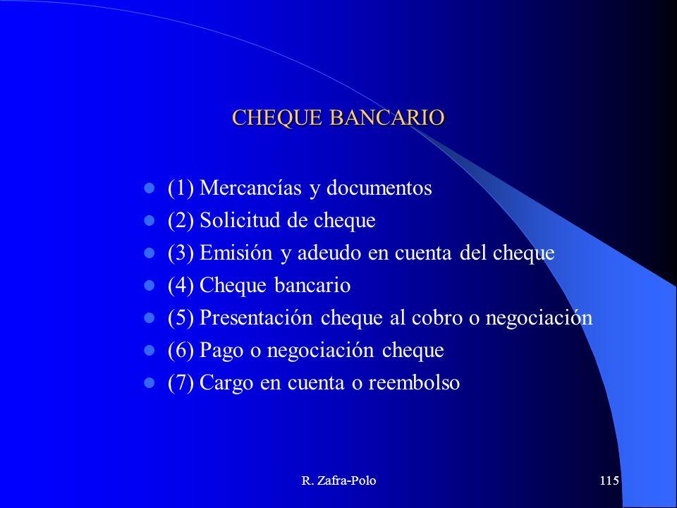 R. Zafra-Polo115 CHEQUE BANCARIO (1) Mercancías y documentos (2) Solicitud de cheque (3) Emisión y adeudo en cuenta del cheque (4) Cheque bancario (5)