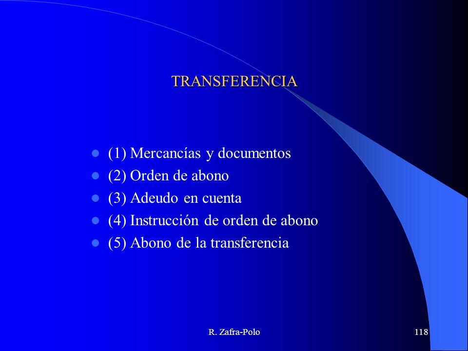 R. Zafra-Polo118 TRANSFERENCIA (1) Mercancías y documentos (2) Orden de abono (3) Adeudo en cuenta (4) Instrucción de orden de abono (5) Abono de la t