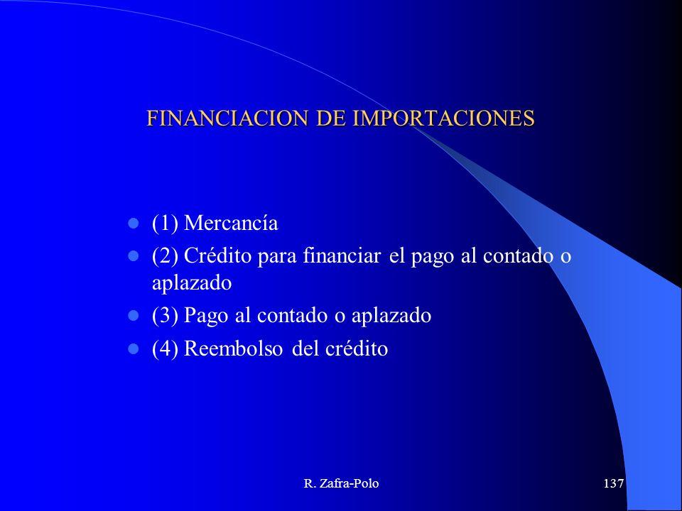 R. Zafra-Polo137 FINANCIACION DE IMPORTACIONES (1) Mercancía (2) Crédito para financiar el pago al contado o aplazado (3) Pago al contado o aplazado (
