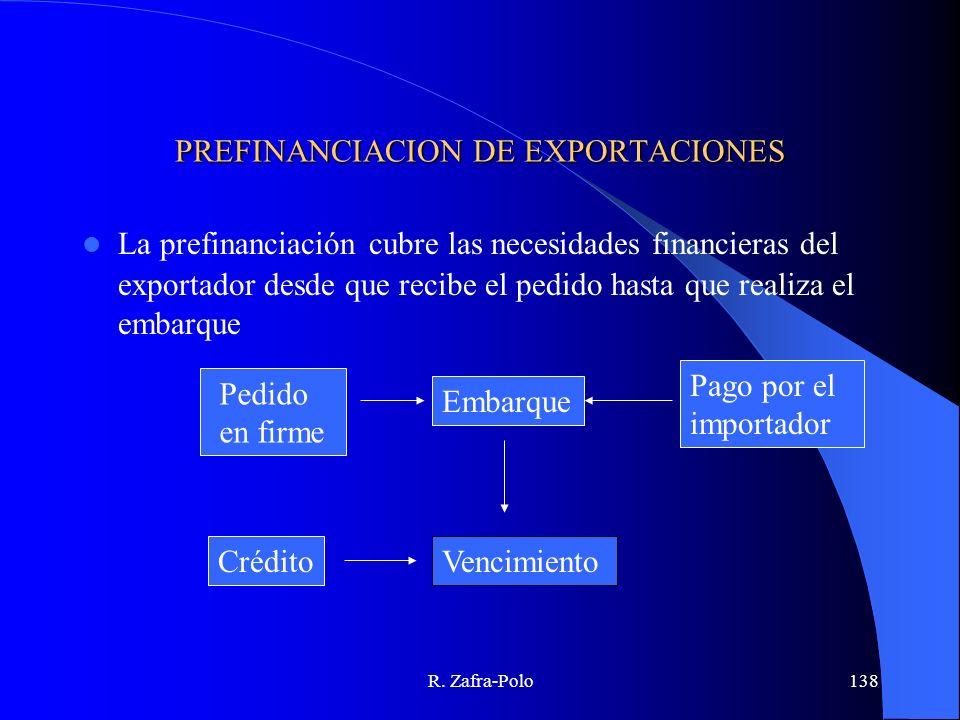 R. Zafra-Polo138 PREFINANCIACION DE EXPORTACIONES La prefinanciación cubre las necesidades financieras del exportador desde que recibe el pedido hasta