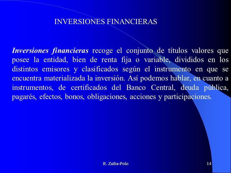 R. Zafra-Polo14 Inversiones financieras recoge el conjunto de títulos valores que posee la entidad, bien de renta fija o variable, divididos en los di