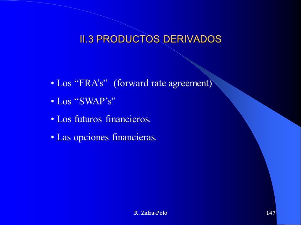 R. Zafra-Polo147 II.3 PRODUCTOS DERIVADOS Los FRAs (forward rate agreement) Los SWAPs Los futuros financieros. Las opciones financieras.