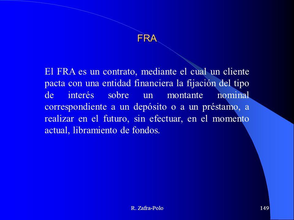 R. Zafra-Polo149 FRA El FRA es un contrato, mediante el cual un cliente pacta con una entidad financiera la fijación del tipo de interés sobre un mont