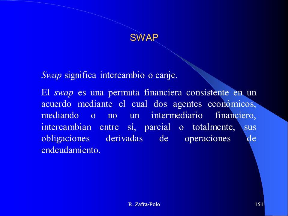 R. Zafra-Polo151 SWAP Swap significa intercambio o canje. El swap es una permuta financiera consistente en un acuerdo mediante el cual dos agentes eco