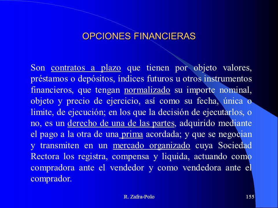 R. Zafra-Polo155 OPCIONES FINANCIERAS Son contratos a plazo que tienen por objeto valores, préstamos o depósitos, índices futuros u otros instrumentos