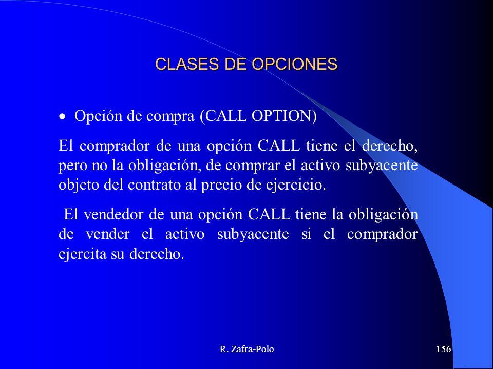 R. Zafra-Polo156 CLASES DE OPCIONES Opción de compra (CALL OPTION) El comprador de una opción CALL tiene el derecho, pero no la obligación, de comprar
