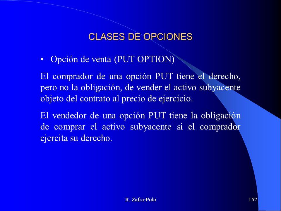 R. Zafra-Polo157 CLASES DE OPCIONES Opción de venta (PUT OPTION) El comprador de una opción PUT tiene el derecho, pero no la obligación, de vender el