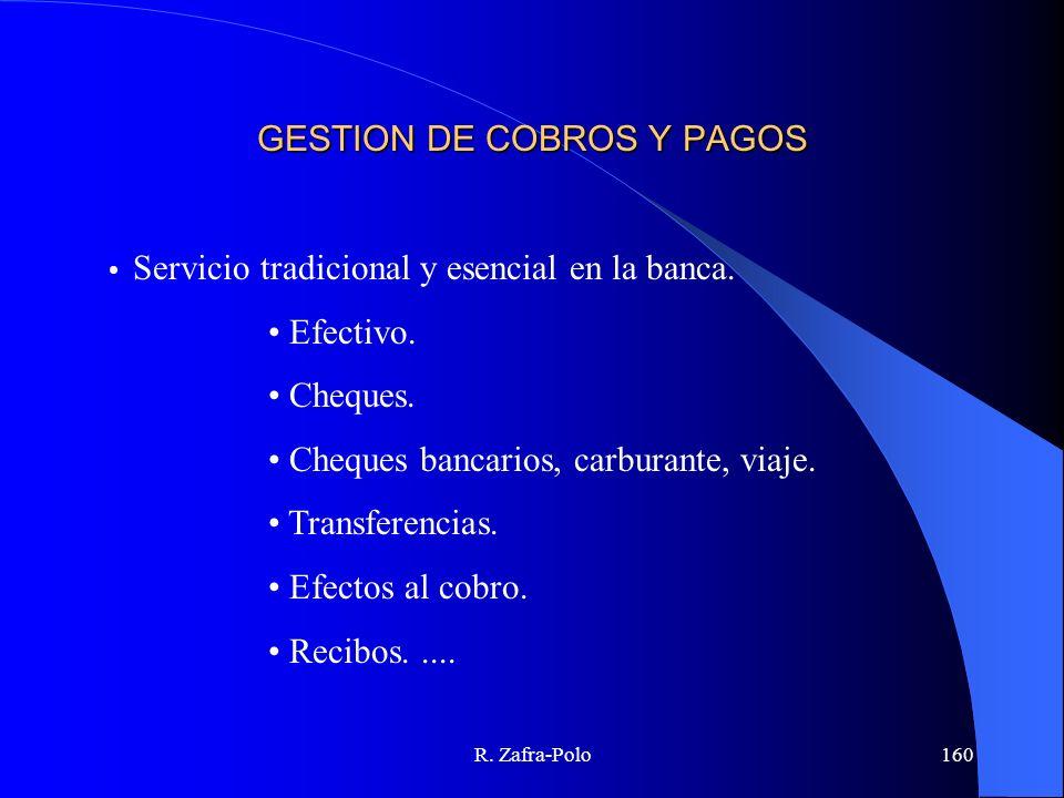 R. Zafra-Polo160 GESTION DE COBROS Y PAGOS Servicio tradicional y esencial en la banca. Efectivo. Cheques. Cheques bancarios, carburante, viaje. Trans