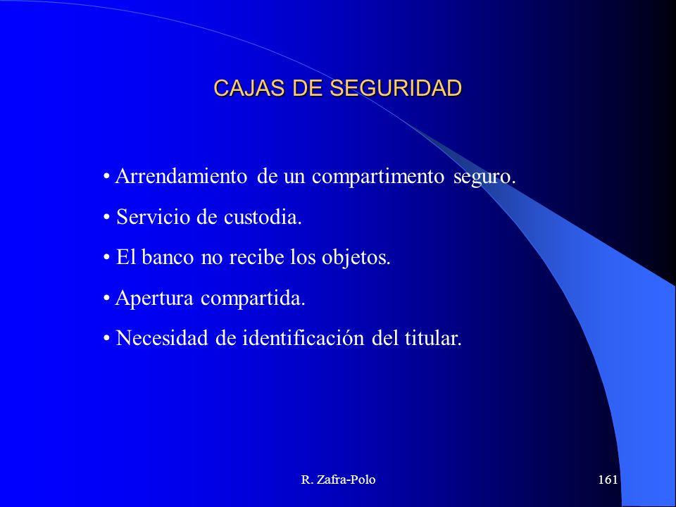 R. Zafra-Polo161 CAJAS DE SEGURIDAD Arrendamiento de un compartimento seguro. Servicio de custodia. El banco no recibe los objetos. Apertura compartid