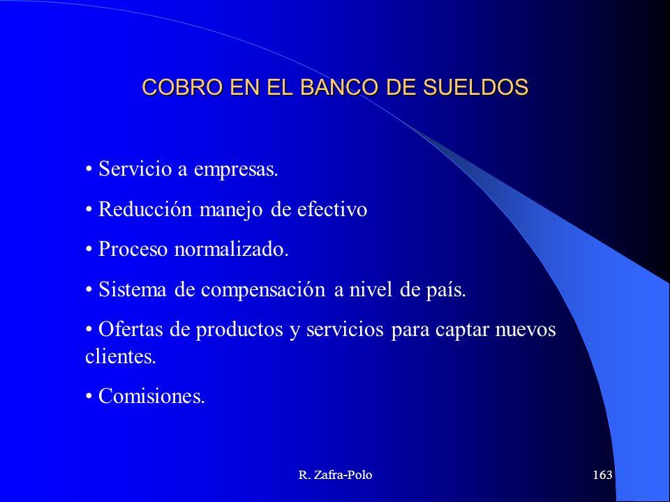 R. Zafra-Polo163 COBRO EN EL BANCO DE SUELDOS Servicio a empresas. Reducción manejo de efectivo Proceso normalizado. Sistema de compensación a nivel d