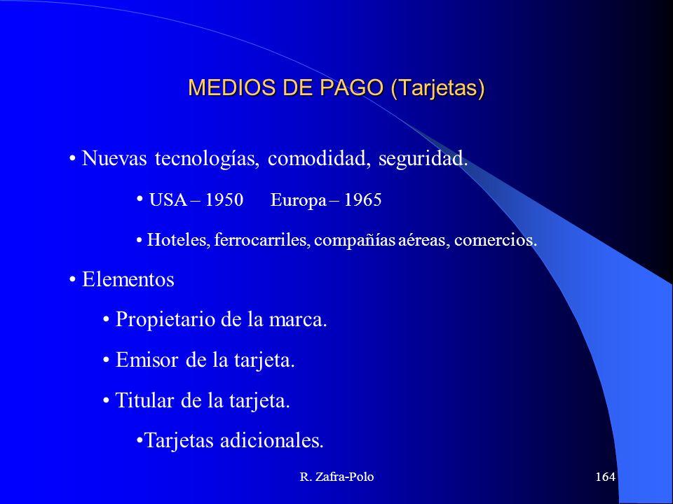 R. Zafra-Polo164 MEDIOS DE PAGO (Tarjetas) Nuevas tecnologías, comodidad, seguridad. USA – 1950Europa – 1965 Hoteles, ferrocarriles, compañías aéreas,