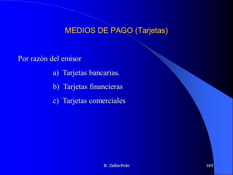R. Zafra-Polo165 MEDIOS DE PAGO (Tarjetas) Por razón del emisor a) Tarjetas bancarias. b) Tarjetas financieras c) Tarjetas comerciales