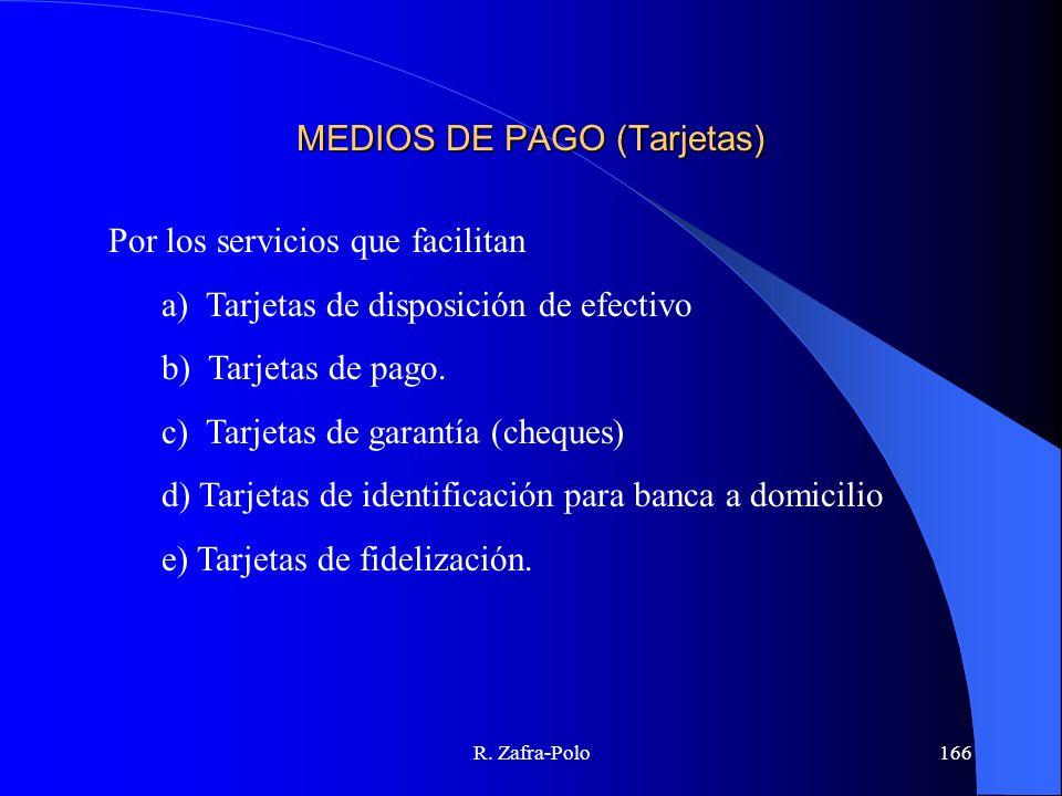 R. Zafra-Polo166 MEDIOS DE PAGO (Tarjetas) Por los servicios que facilitan a) Tarjetas de disposición de efectivo b) Tarjetas de pago. c) Tarjetas de