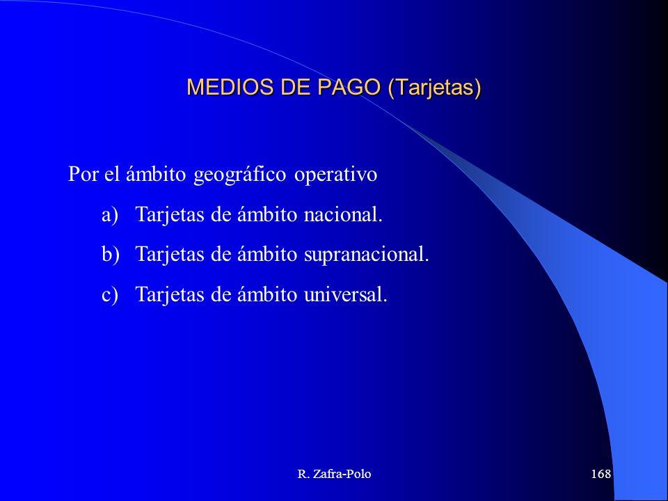R. Zafra-Polo168 MEDIOS DE PAGO (Tarjetas) Por el ámbito geográfico operativo a)Tarjetas de ámbito nacional. b)Tarjetas de ámbito supranacional. c)Tar