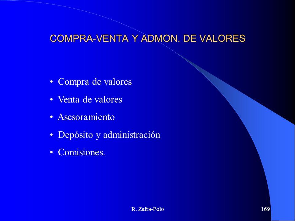 R. Zafra-Polo169 COMPRA-VENTA Y ADMON. DE VALORES Compra de valores Venta de valores Asesoramiento Depósito y administración Comisiones.