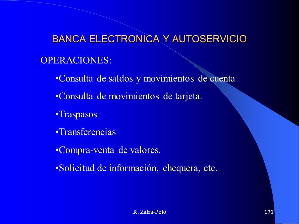 R. Zafra-Polo171 BANCA ELECTRONICA Y AUTOSERVICIO OPERACIONES: Consulta de saldos y movimientos de cuenta Consulta de movimientos de tarjeta. Traspaso