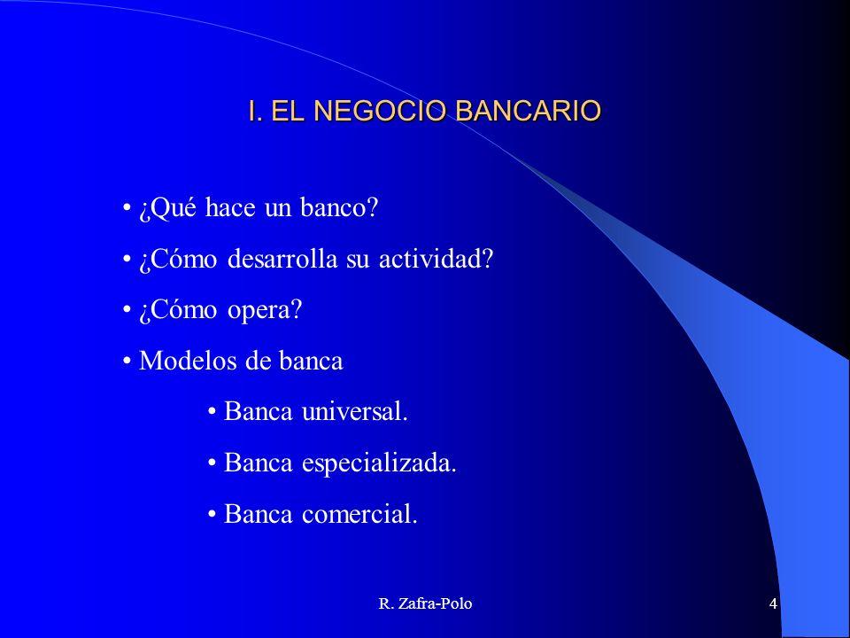 R. Zafra-Polo4 I. EL NEGOCIO BANCARIO ¿Qué hace un banco? ¿Cómo desarrolla su actividad? ¿Cómo opera? Modelos de banca Banca universal. Banca especial